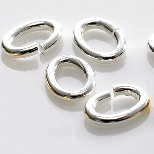 Oval Jump Rings, Silver