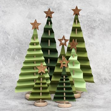 Folded paper Christmas trees