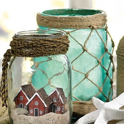 Marine-themed glass jar