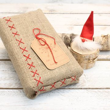 Jute gift wrapping